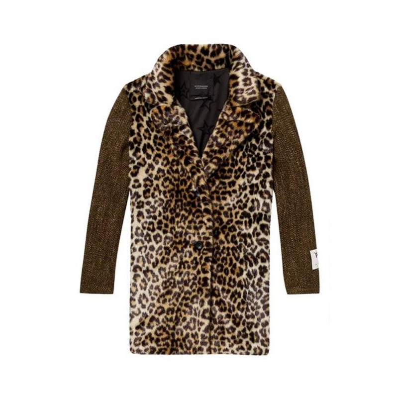 Abrigo Maison Scotch Faux Fur Leopardo