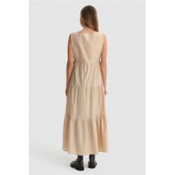 Vestido Woolrich Popeline Long Beige