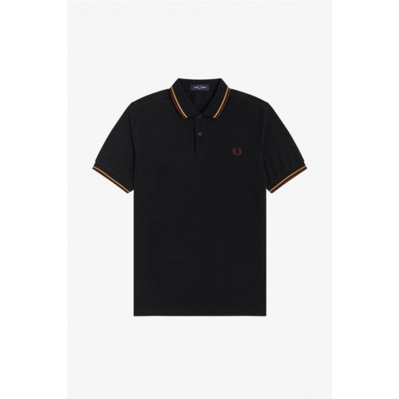 Polo Fred Perry Twin Tipped Negrodorado