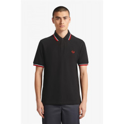 Polo Fred Perry Twin Negro Rojo
